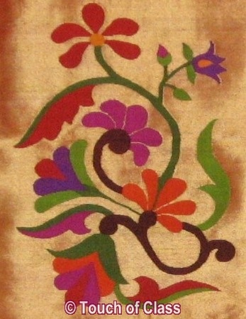 motif on a paithani. Paithani is a weave of State of Maharashtra in India. Description by Pinner Mahua Roy Chowdhury