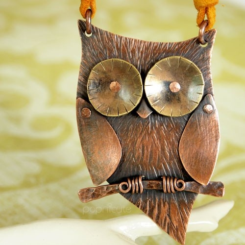 Unique Cute Hoot Owl Necklace Copper Brass Metal Sculpture Riveted