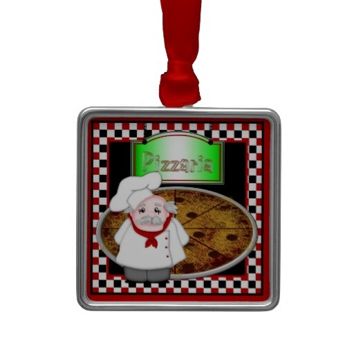 Chef Italiano Ornaments, graphic design featuring a chubby little Italian chef, pepperoni pizza and a neon pizzaria sign. Colors are red/white/black. #Italian #ornament #pizza #chef #pizzaria #MargaretNewcomb Visit my Zazzle Store at: http://www.zazzle.com/serenitygardens?rf=238170457442240176