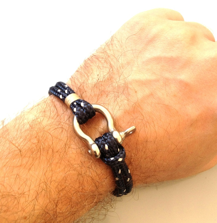 Nautical Sailing Bracelet Stainless steel Shackle -Rope Bracelet- Paracord Bracelet- Navy5. $15.00, via Etsy.