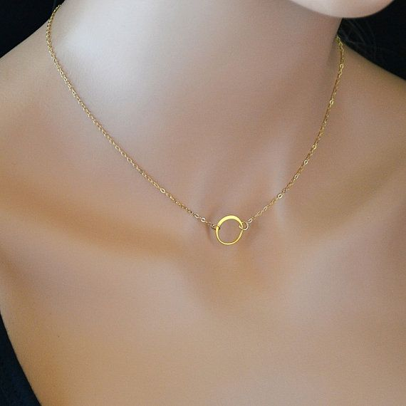 Eternity Circle Necklace, Gold Ring Necklace, Karma Necklace, Minimalist, Simple Jewelry, Anniversary