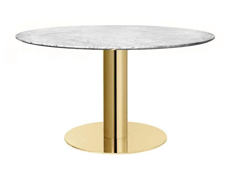 2 0 Round Dining Table W Brass Base By Gubi Dining Table Round