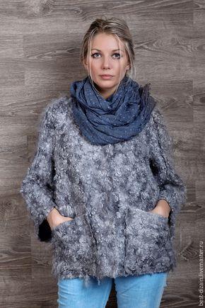 """Купить Валяная куртка """"Серебро"""" - серый, серебряный, валяная куртка, куртка валяная"""