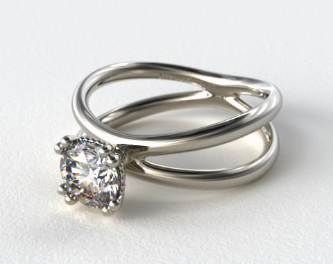 14K White Gold Criss Cross Diamond Solitaire