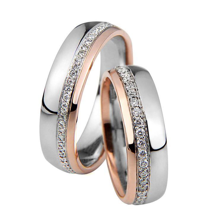 Shine fehér és rozé arany karikagyűrű S019