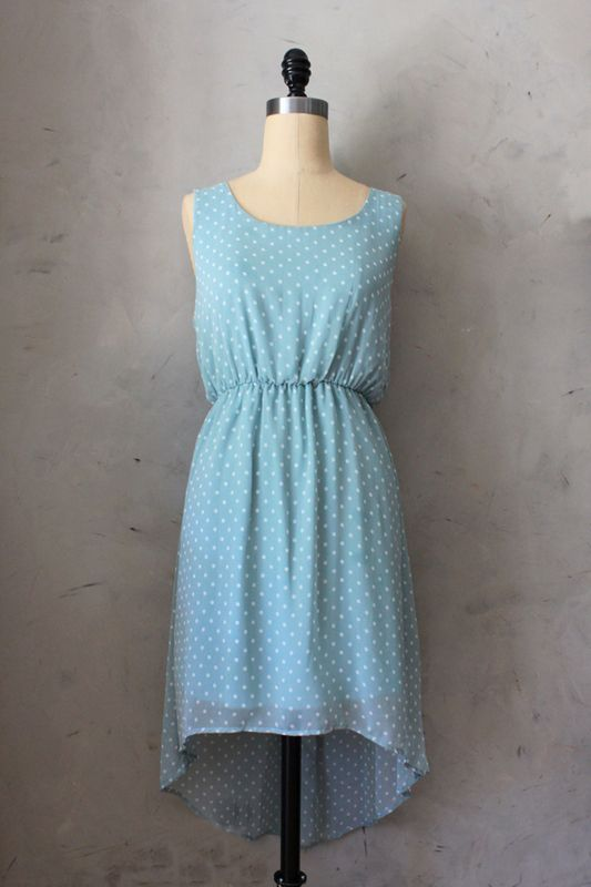 "Cakes & Ice Cream Dress, $48 from the dreamy Fleet Collection.  Chic polka dot dress. The soft powder blue & white dot print combined with the flowy high low dress makes for a dress perfect for any occasion. Sexy ""V"" back, seals this deal."