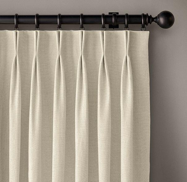 Custom Belgian Heavyweight Linen 2-Fold French-Pleat Drapery