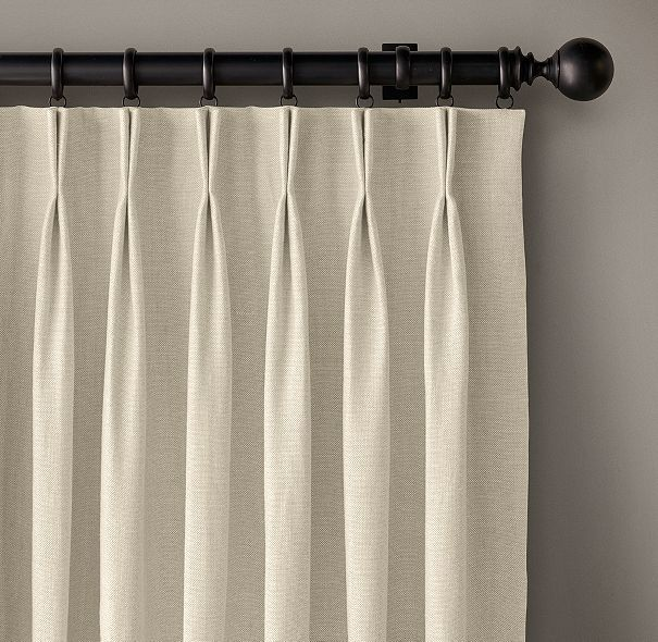 Custom Belgian Heavyweight Linen 2-Fold French-Pleat Drapery