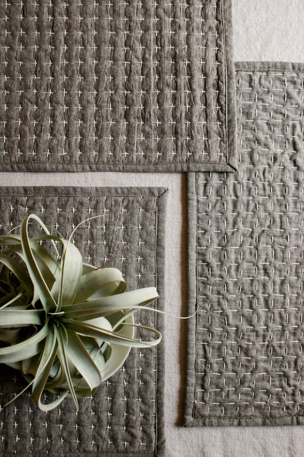 Molly's Sketchbook: Reversible Sashiko Placemats - The Purl Bee - Knitting Crochet Sewing Embroidery Crafts Patterns and Ideas!