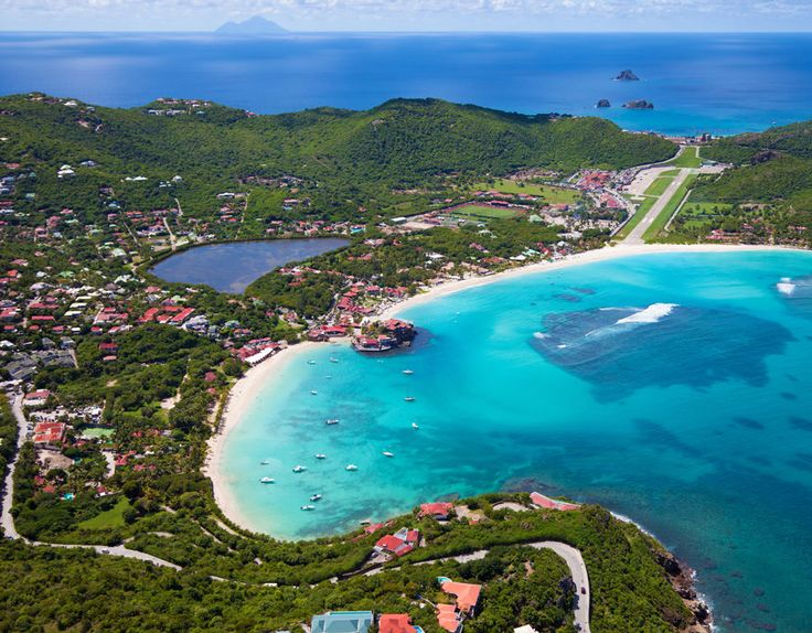 Aerial view of Gustaf III Airport, St. Jean Bay, on the Caribbean Island of St. Barths