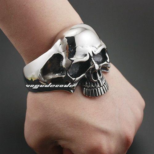 316L Stainless Steel Huge Heavy Skull Mens Biker Bracelet Bangle Cuff 5J022 | eBay