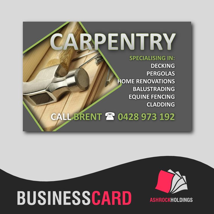 Carpentry Business Card | #businesscard #carpentry #builder #cmyk #printer #printing #ashrockholdings