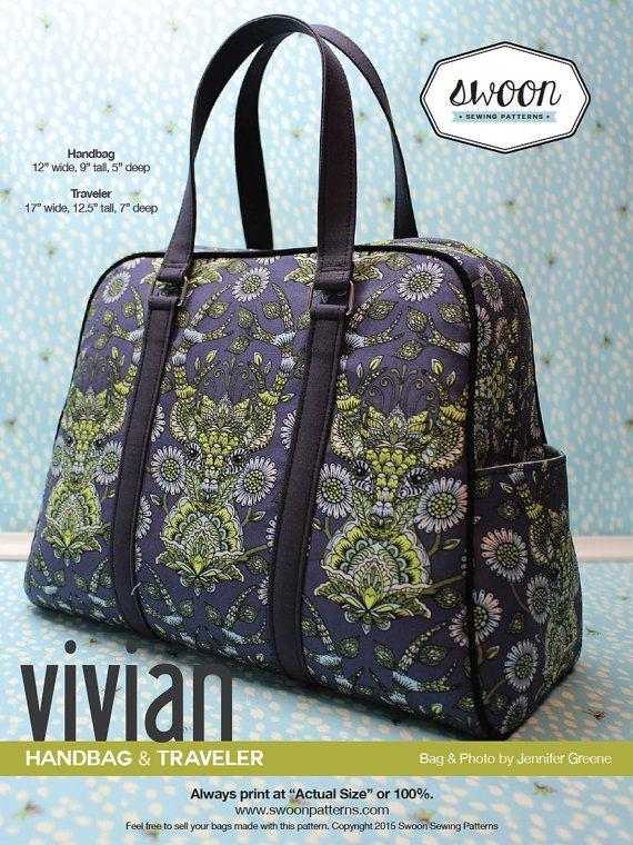 Swoon Patterns: Vivian Handbag & Traveler - PDF Bag Purse Travel Bag Sewing Pattern