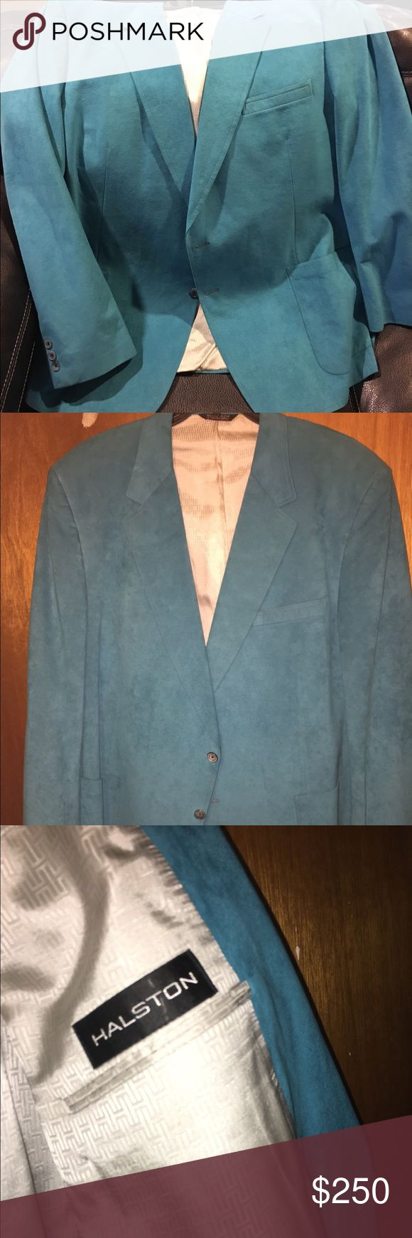 Genuine Suede Blazer - Rare Color Halston Vintage Suede Blazer - Excellent Condition Teal Colored, very rare find!!!! Halston Suits & Blazers Sport Coats & Blazers