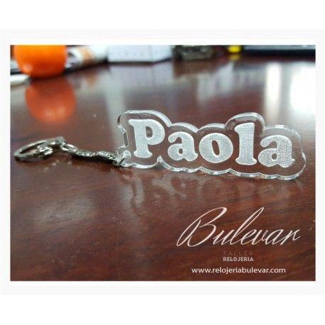 PVP: 3 € Llavero con nombre en metacrilato transparente, grabado y contorneado.