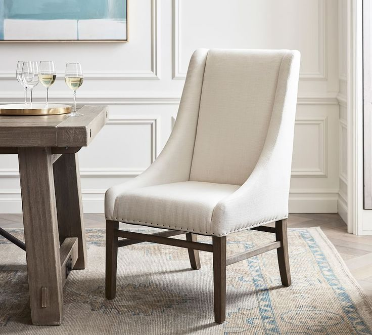 Milan Slope Upholstered Dining Armchair, Upholstered Living Room Chairs With Arms