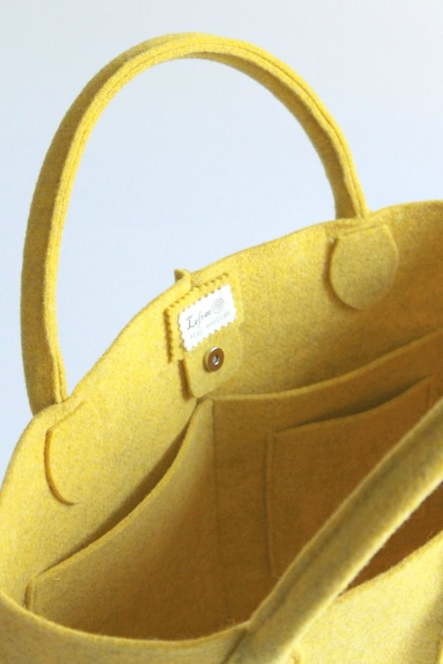 Borse da shopping - Elegant and casual wool felt bag - yellow - un prodotto unico di Lefrac su DaWanda