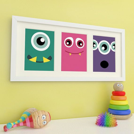 Monster Art, Monster Prints, Childrens Wall Art, Childrens Room Decor, Kids Art- 3 of 5x7in Prints - Bold & Colourful on Etsy, $23.00 CAD