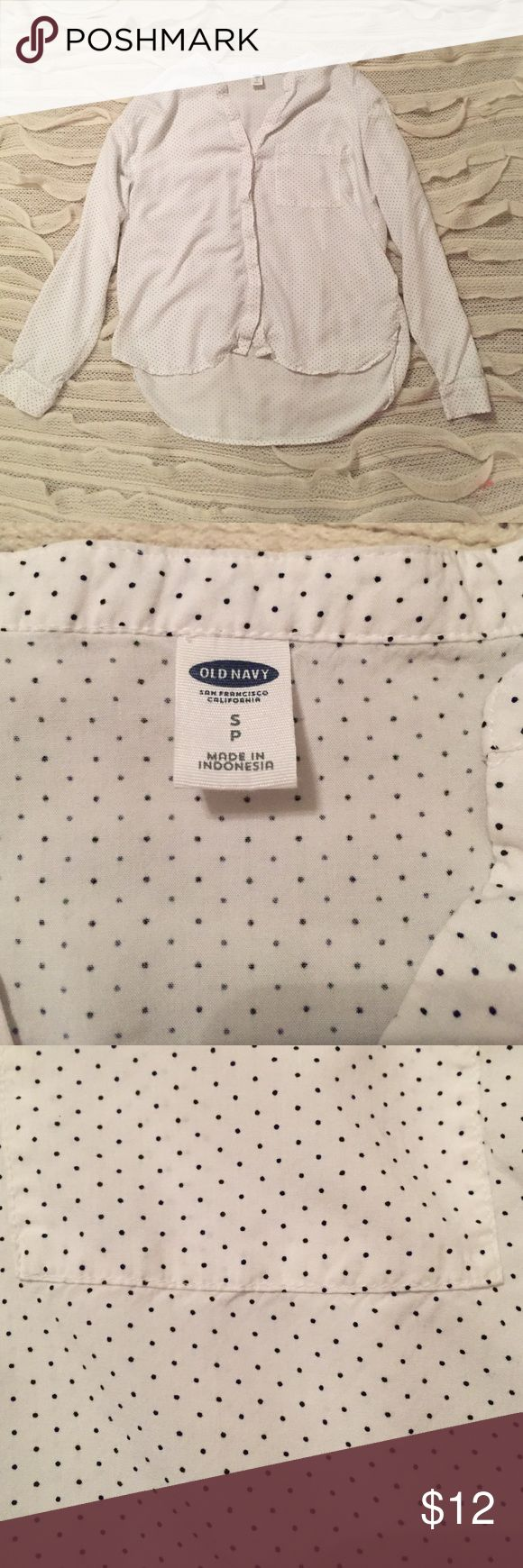 Old Navy long sleeve top Old Navy long sleeve top. White with blue polka dots. Good used condition. It is longer in the back than the front. Old Navy Tops