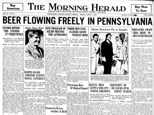 April 7 is a day celebrated nationally by beer lovers as a big anniversary  near the end of Prohibition in when legal beer sales returned in the United  ...