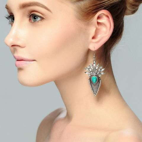 Boho Crystal & Turquoise Earrings