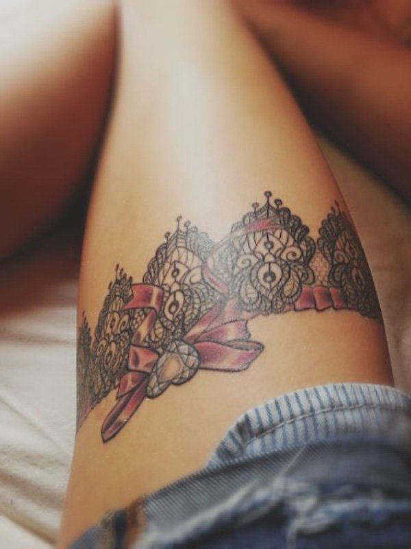 Lace Thigh Tattoo - 45  Lace Tattoos for Women  <3 <3