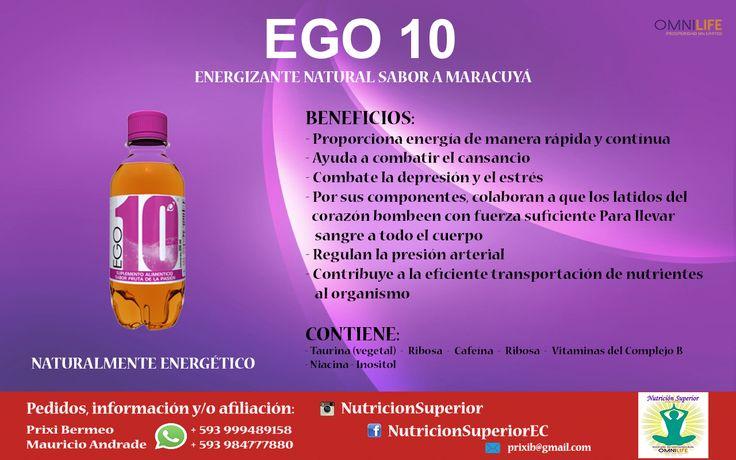 EGO 10 - Omnilife - Gaseosa nutritiva sabor a maracuyá - Energizante natural.