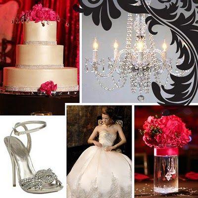 black, white & fuchsia wedding inspiration board