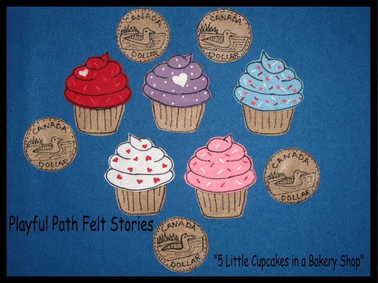 5 Little Cupcakes in the Bakery Shop by PlayfulPathFelts on Etsy