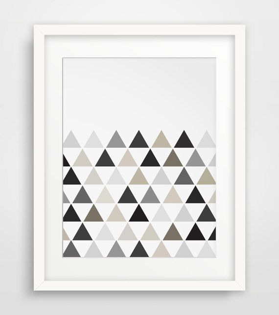 Geometric Print Triangle Print Monochrome by MelindaWoodDesigns