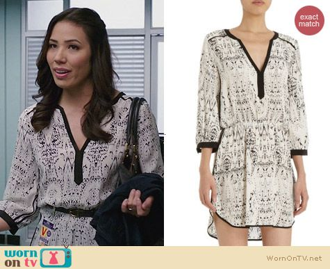 Angela's white printed dress with black trim on Bones. Outfit Details: http://wornontv.net/25738 #Bones #fashion