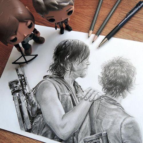 Carol & Daryl art - Caryl - The Walking Dead