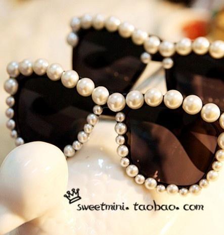 $5.05 bling bling Large pearl handmade children sunglasses glasses-ZZKKO