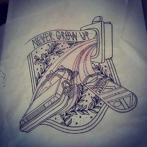 Back to the Future tattoo flash by Fat Manu