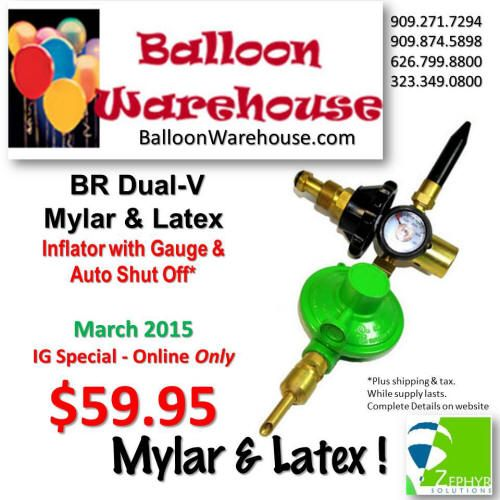 Deluxe BR Dual-V Purpose Mylar & Latex Inflator with Gauge & Auto Shut Off for Mylar Balloons to help keep from popping them on inflation. Handtight connection. Style may vary from Photo. Helium Tank Not IncludedSHIPS FED EX GROUND 48 States ONLY.We don't rent, so inflator is Not returnable.Item: #BRDual-V - New DesignRegular Price: $69.98 ea. http://balloonwarehouse.com/ig