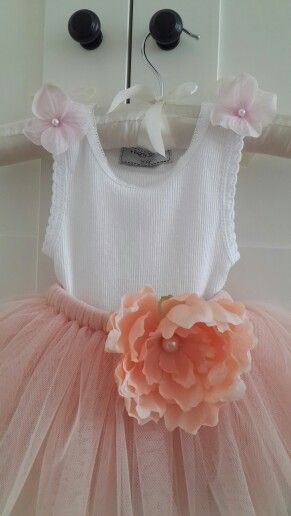 Peach Delicate Tutu with Whimsical Peach Peony and Pink Hydrangea Tank Top