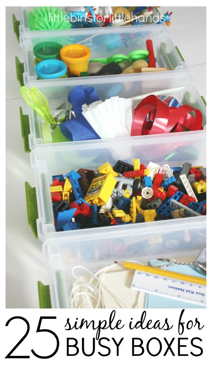 Make simple busy boxes to encourage quiet time play, independent play, and any time play. Rotating busy boxes will keep kids busy playing and learning.