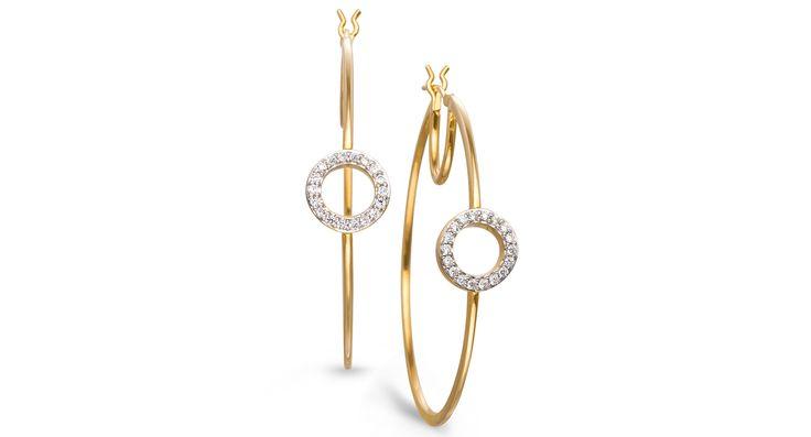 YellOra Diamond Small Circle Hoop Earrings in YellOra (1/4 ct. t.w.)