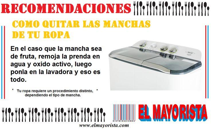 Quita las manchas de tu ropa con poco esfuerzo utilizando el producto correcto. #elmayorista #jueves #recomendaciones