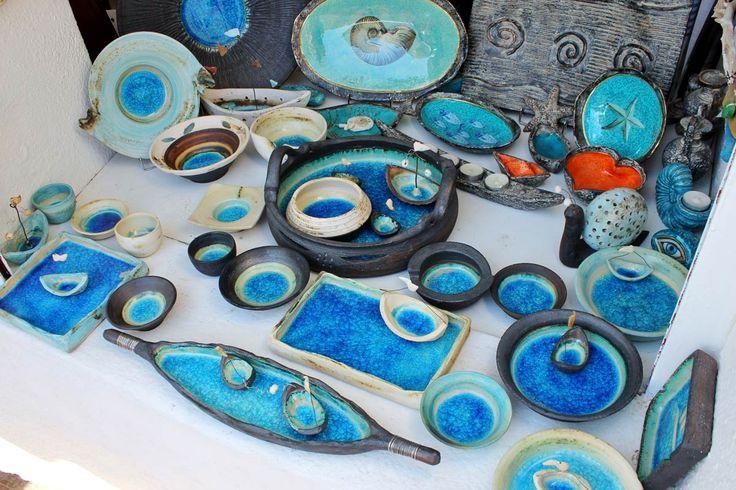 Les poteries bleues de Sabtorin, Grèce #cyclades #santorini #greece