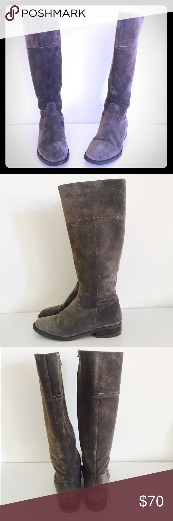 J Crew Boots Gray Suede Leather 7 Darling pair of gray Suede leather boots by J Crew.  Size 7   Please see images, one of the zipper pulls has broken off, they still zip up and down, just missing the pull. Priced accordingly J. Crew Shoes Heeled Boots