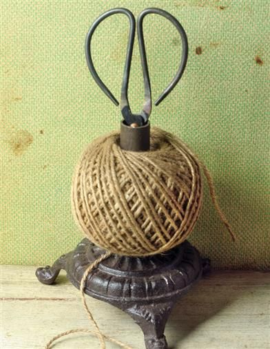 An industrious reproduction of a provencal houseware, this Twine Holder & Shears Set lends itself to daily tasks with a decorative flair.