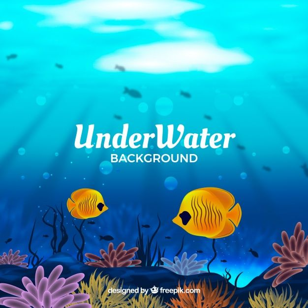 Download Underwater Background With Fishes In Realistic Style For Free