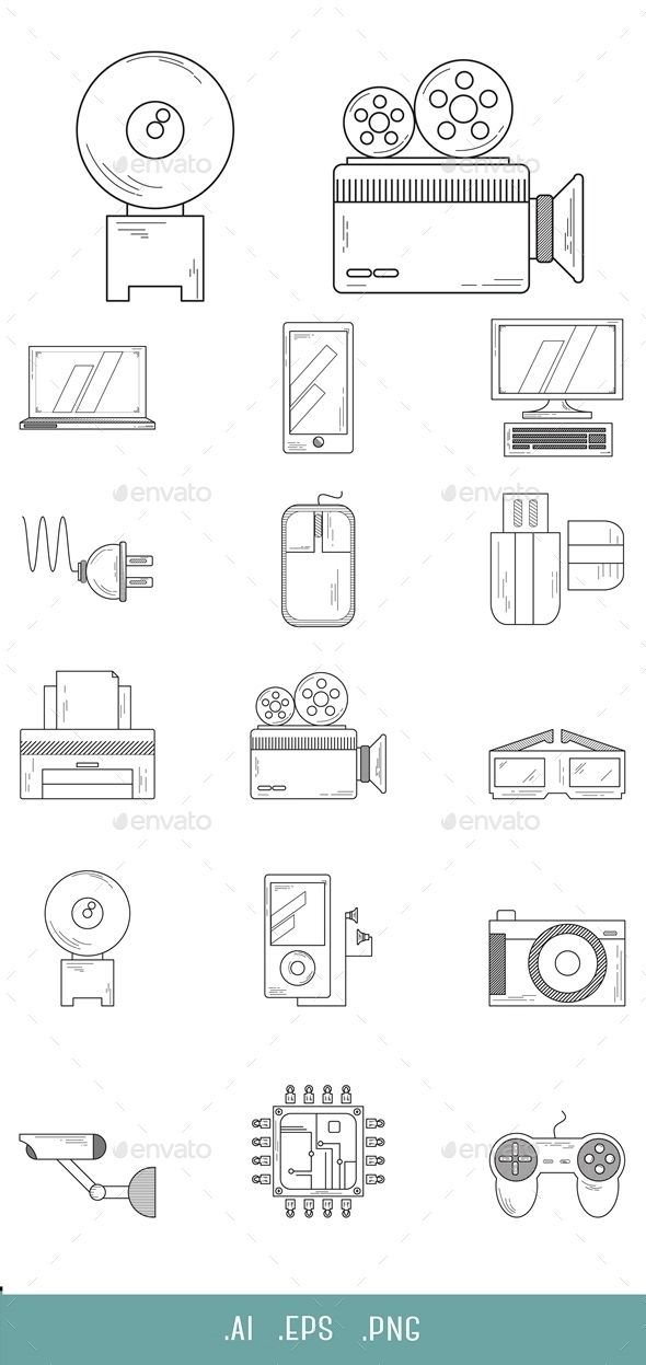 Technology Line Icon pack.  Archive contains easy to edit .EPS and .AI vector format. .PNG files in the resolution 512X512px with