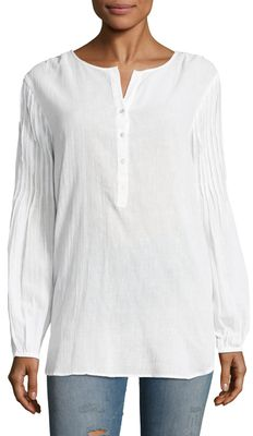 Calypso St. Barth Poet Cotton Pleated Sleeve Blouse