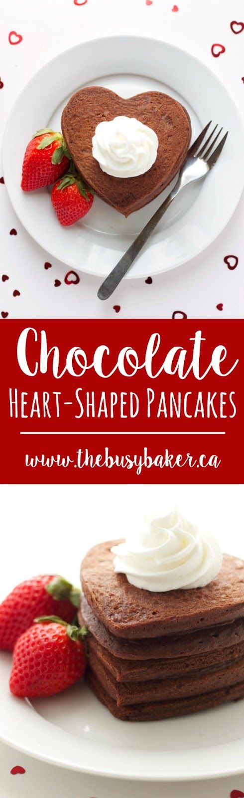 The cutest healthier Chocolate Heart-Shaped Pancakes from thebusybaker.ca! #sponsored #ad #CollectiveBias