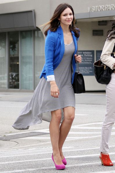 With a Striped Dress and Bright Heels Like Katharine McPhee
