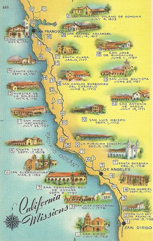 California Missions souvenir postcard - wonder which Mission I visited as a schoolgirl in Sacramento.