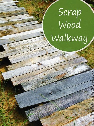 Create this simple scrap wood walkway in your yard. It's a beautiful rustic