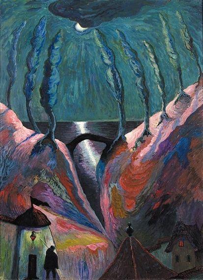 Marianne von Werefkin (Марианна Владимировна Веревкина; Russian/Swiss, 1860-1938)    Nuit Fantastique - c. 1910